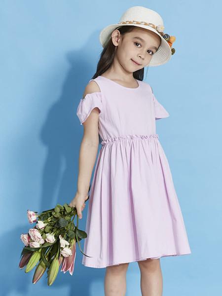 青蛙王(皇)子童装品牌2020春夏女童连衣裙夏儿童纯棉露肩公主洋气长裙子