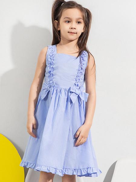 青蛙王(皇)子童装品牌2020春夏格子清新无袖连衣裙夏季圆领洋气公主裙子