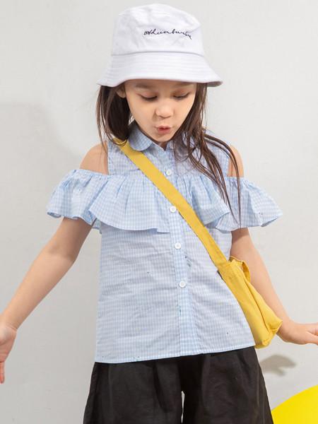 青蛙王(皇)子童装品牌2020春夏露肩纯棉格子T恤夏季儿童女荷叶边绣花上衣