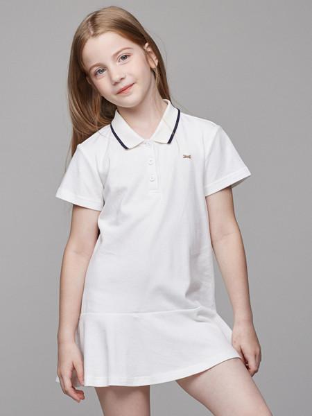 青蛙王(皇)子童装品牌2020春夏女童连衣裙夏儿童棉弹休闲洋气海军风长裙子