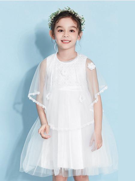 青蛙王(皇)子童装品牌2020春夏公主裙蓬蓬纱洋气超仙连衣裙夏小花童网纱蛋糕裙