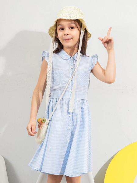 青蛙王(皇)子童装品牌2020春夏女大童清新甜美格子连衣裙夏季儿童女无袖花边公主裙