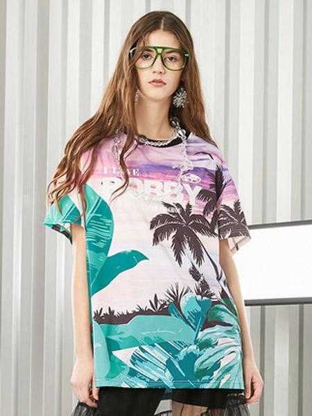 I LOVE CHOC 我爱巧克力女装品牌2020春夏学院风海岛印花短袖T恤仙女