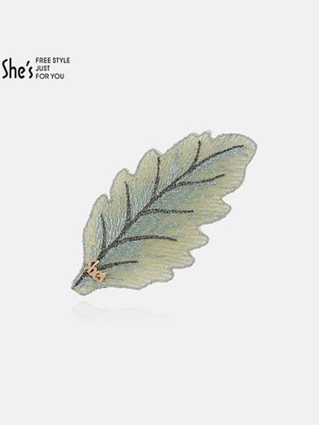 茜子黄金首饰品牌刘海贴碎发帖 树叶手工刺绣网纱魔术贴粘发帖发卡女