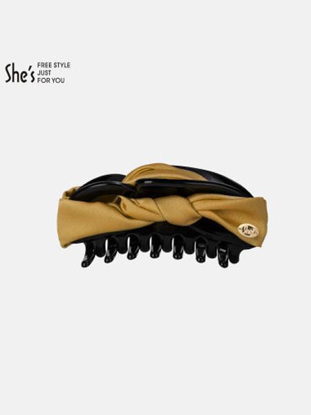 茜子黄金首饰品牌糖果色蝴蝶结盘发抓夹 纯色布艺大号发夹后脑勺发卡头饰