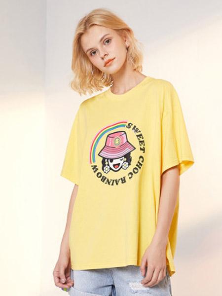 I LOVE CHOC 我爱巧克力女装品牌2020春夏宽松纯色小香风短袖T恤仙女洋气