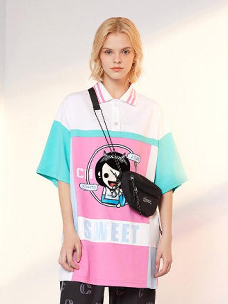 I LOVE CHOC 我爱巧克力女装品牌2020春夏宽松拼接慵懒风短袖T恤洋气仙女