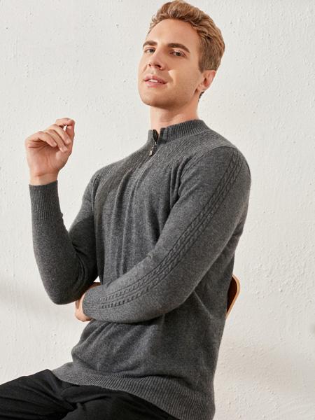 贵群羽绒羊绒品牌2020秋冬圆领深灰色羊绒衫