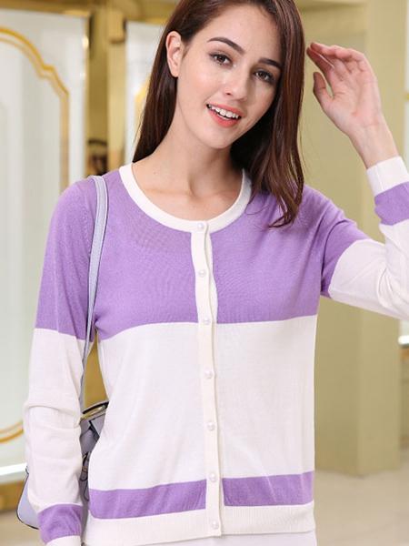 贵群羽绒羊绒品牌2020秋冬紫色白色外套羊绒衫