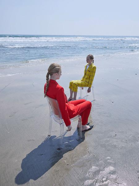 芭蕾君女装品牌2020春夏大红色西装套装
