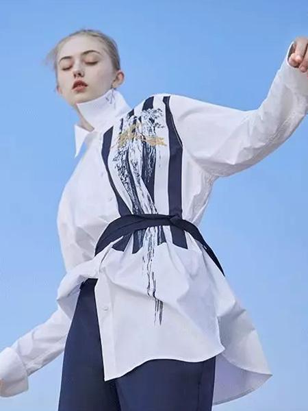 芭蕾君女装品牌2020春夏收腰白色衬衫长款