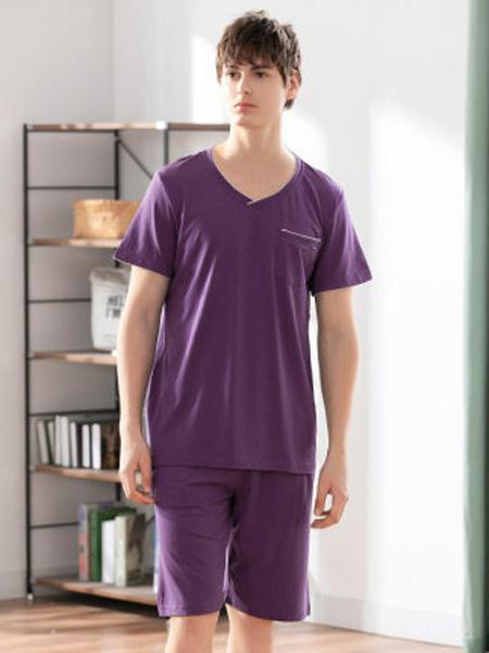 韩彩内衣品牌2020春夏薄款可外穿莫代尔棉短袖套装青年大码休闲家居服