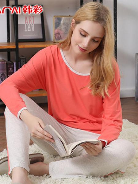 韩彩内衣品牌2020春夏莫代尔棉睡衣女夏季薄款短袖长裤两件套妈妈家居服潮