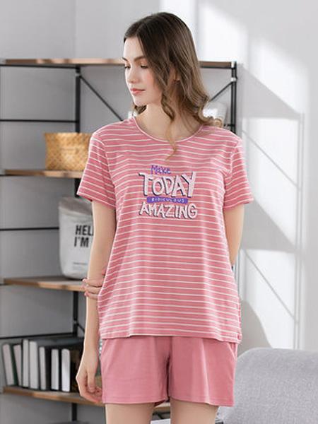 韩彩内衣品牌2020春夏女士短袖短裤条纹两件套薄款女家居服休闲可爱居家服