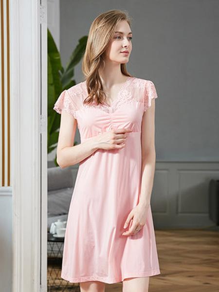 韩彩内衣品牌2020春夏粉色短睡裙