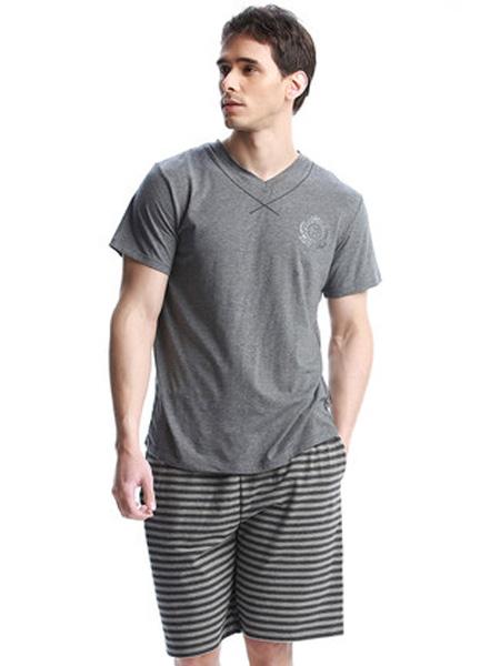韩彩内衣品牌2020春夏家居服莫代尔男士睡衣夏季薄款胖子加大码男装V领短袖套装