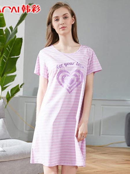 韩彩内衣品牌2020春夏睡衣女夏短袖丝光棉睡裙韩版心形印花冰丝中长家居服