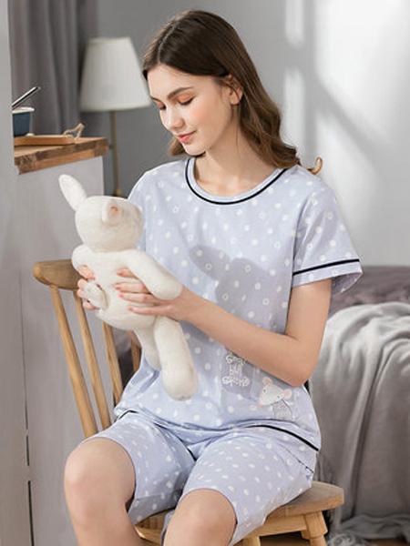 韩彩内衣品牌2020春夏睡衣女夏季薄款两件套宽松可爱短袖短裤夏天女士家居服套装