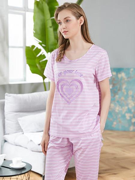韩彩内衣品牌2020春夏睡衣女夏套装短长裤两件套纯棉可外穿休闲家居服紫色爱心