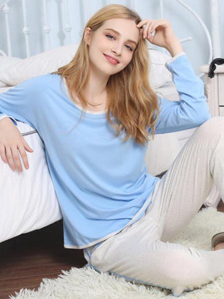 韩彩内衣品牌2020春夏莫代尔睡衣女长袖薄款春秋舒适纯色宽松秋冬两件套家居服套装