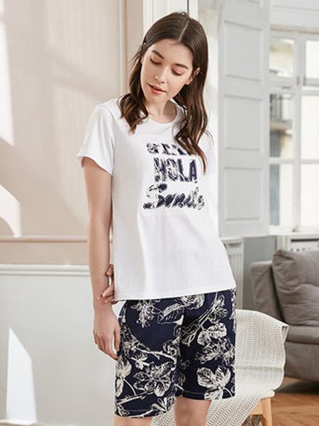 韩彩内衣品牌2020春夏睡衣女士短袖短裤字母印花休闲可外穿套装纯棉运动棉质家居服