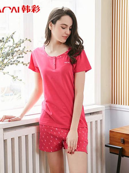 韩彩内衣品牌2020春夏短袖两件套妈妈纯棉套装简约运动纯色可外穿家居服套装