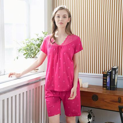 韩彩内衣品牌2020春夏睡衣女夏套装短袖两件套纯棉蕾丝花边领玫瑰印花家居服