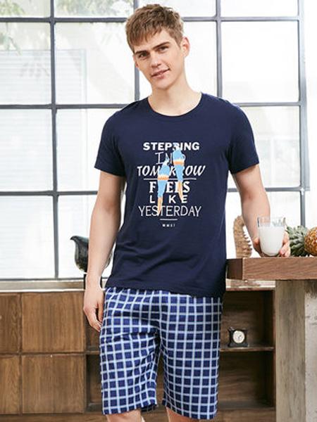 韩彩内衣品牌2020春夏睡衣男士莫代尔短袖个性格子裤套装休闲时尚家居服