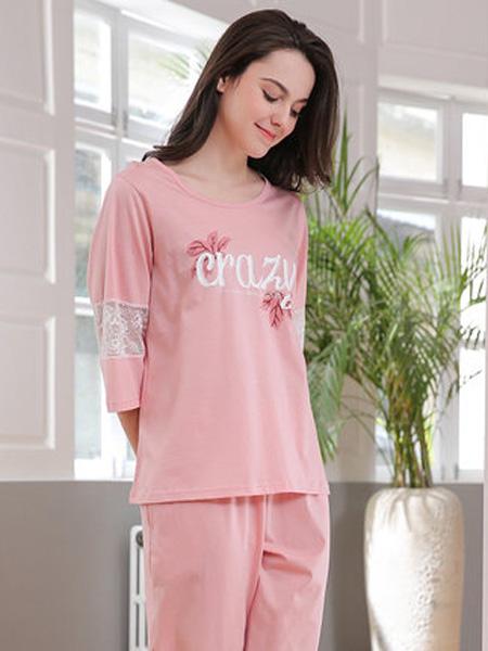 韩彩内衣品牌2020春夏睡衣女夏季纯棉夏天蕾丝拼接七分袖粉色套装全棉春秋家居服