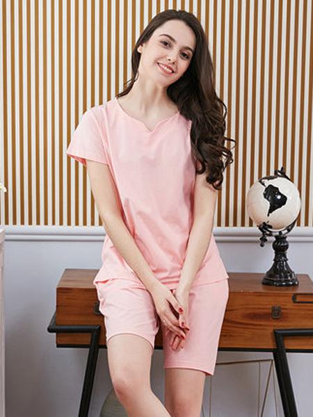 韩彩2020春夏睡衣女士夏季短袖莫代尔棉简约纯色可外穿家居服套装