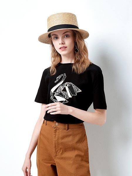 织度女装品牌2020春夏显瘦黑色修身短袖
