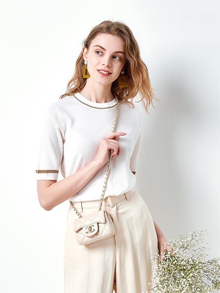 织度女装品牌2020春夏圆领针织修身短袖