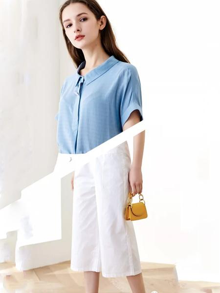 韩宜女装品牌2020春夏翻领蓝色衬衫雪纺