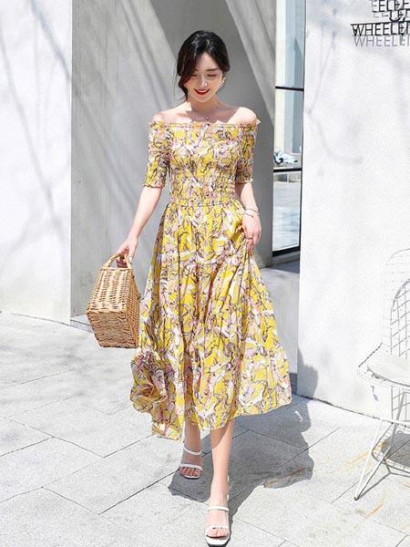 Felipe Varela女装品牌2020春夏修身雪纺碎花裙