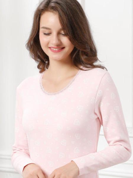 芬格兰内衣品牌2020秋季保暖内衣套装 舒绒棉毛衫蕾丝花边可爱甜美修身保暖内衣女