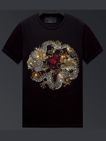 雷尼德LENDYE男装品牌2020春夏龙飞起舞黑色T恤