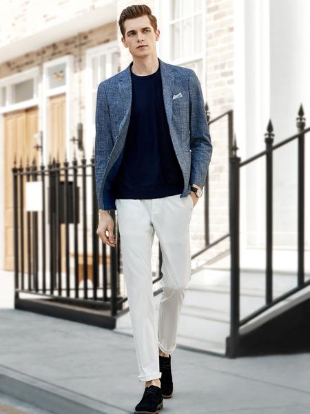 艾法利男装品牌2020秋季灰蓝色西装外套