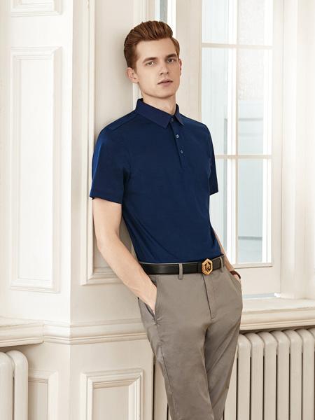 艾法利男装品牌2020秋季藏蓝色衬衫