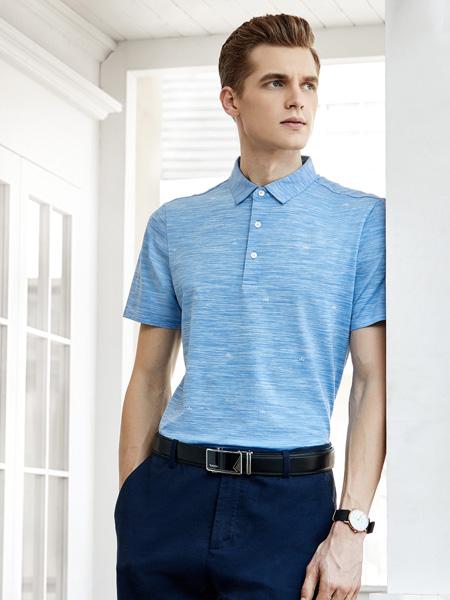 艾法利男装品牌2020秋季翻领蓝色T恤