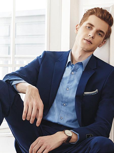 艾法利男装品牌2020秋季深蓝色西装套装