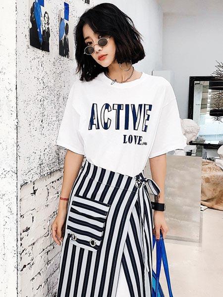 嘉路迪女装品牌2020春夏休闲百搭白色T恤