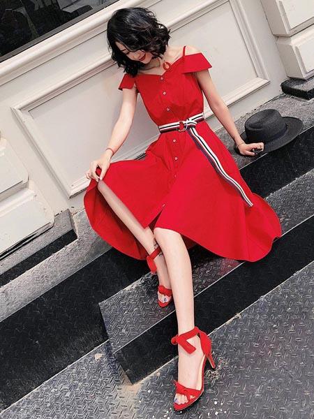 嘉路迪女装品牌2020春夏复古知性红色连衣裙