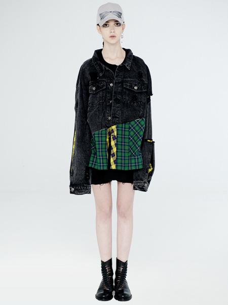 DevilBeauty女裝品牌2020春夏翻領黑色牛仔外套
