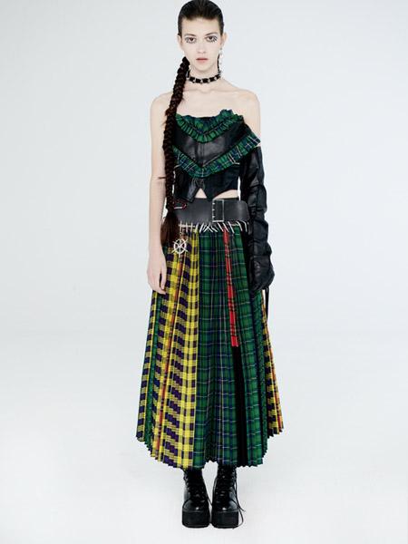 DevilBeauty女装品牌2020春夏格纹半身裙黄色绿色