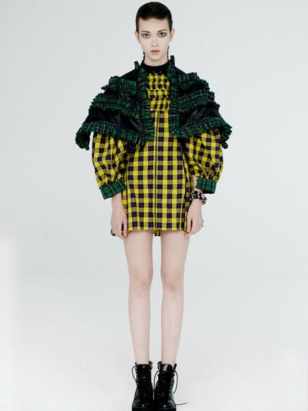 DevilBeauty女装品牌2020春夏黄色格纹宽松连衣裙短款