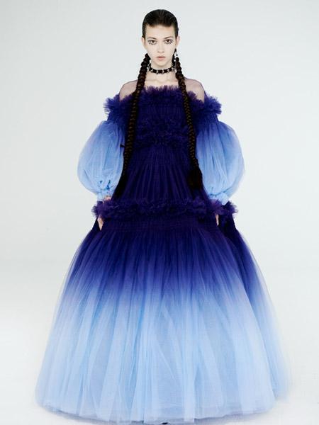DevilBeauty女装品牌2020春夏露肩深蓝色泡泡袖连衣裙蓬蓬裙
