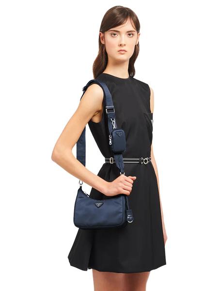 普拉达箱包品牌2020春夏藏蓝色单肩包