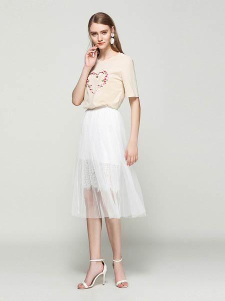 蓝狄斯丹女装品牌2020春夏纯棉休闲圆领T恤