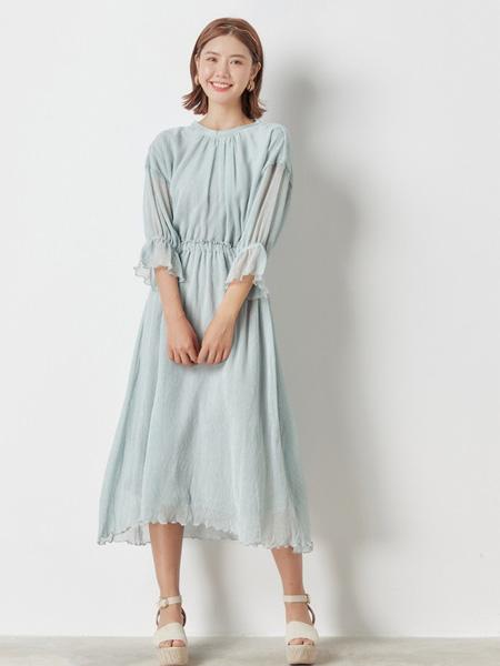 Nice Claup女装女装品牌2020春夏圆领绿色收腰连衣裙