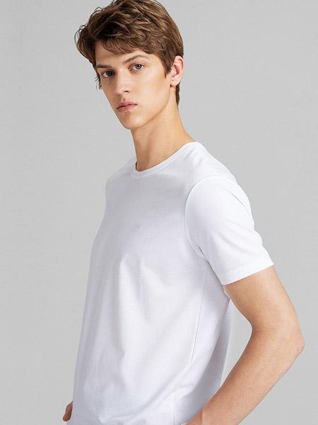 金利来男装品牌2020春夏圆领白色纯色T恤